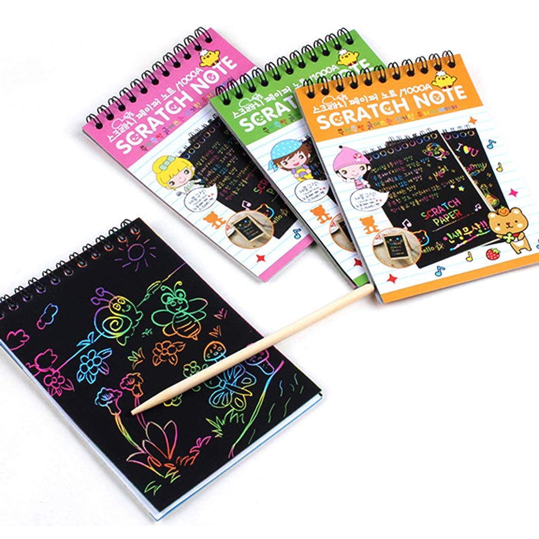 Amazon : 10 Pages/Set Multicolor Drawing Writing Scratch Paper Notebook With Wooden Stylus Kids Toy Just $2.89 W/Code (Reg : $14.45) (As of 12/13/2018 11.41 AM CST)