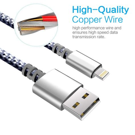 3-Pack 6-Feet Extra Long Charging Cable Durable Fast Charging 2