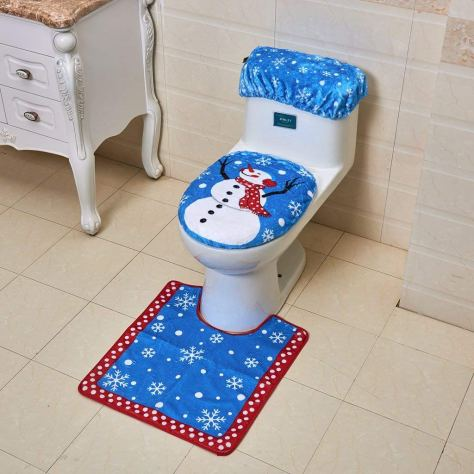 Christmas Decorations Snowman Santa Toilet Seat Cover and Rug Set for Bathroom - Blue 1.jpg