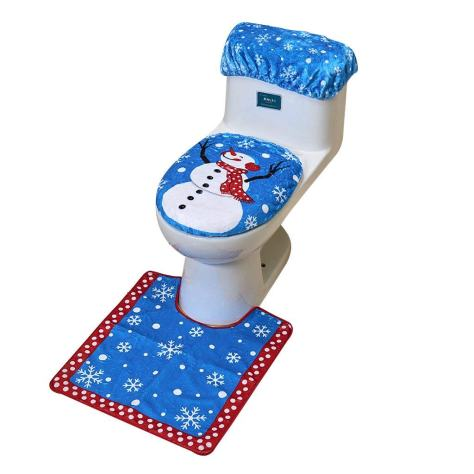 Christmas Decorations Snowman Santa Toilet Seat Cover and Rug Set for Bathroom - Blue