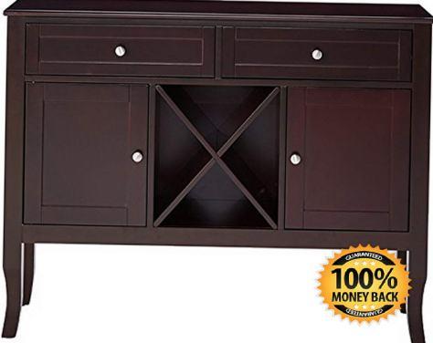 Dark Cherry Finish Wood Wine Cabinet Breakfront Buffet Storage Console Table 2.jpg