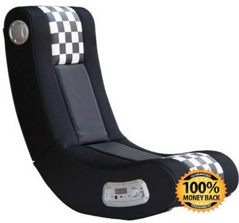Drift Wireless 2.1 Sound Gaming Chair, Black White Checkered Flag