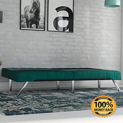 Futon Sofa Bed, Modern Couch, Green Velvet 1.jpg