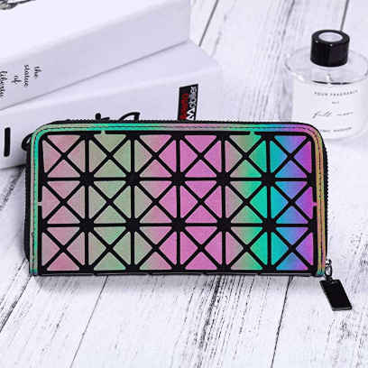 Holographic Geometric Clutch Wallet 1