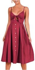 Womens Sleeveless Summer Spaghetti Strap Button Down Swing Midi Sundresses.png 1