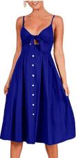 Womens Sleeveless Summer Spaghetti Strap Button Down Swing Midi Sundresses