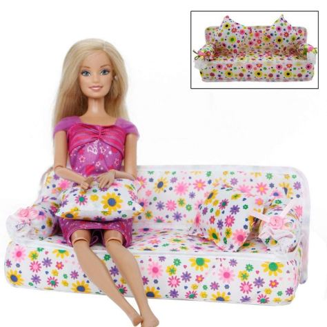 1 Set Mini Furniture Flower Sofa Couch with 2 Cushions for Barbie Doll House