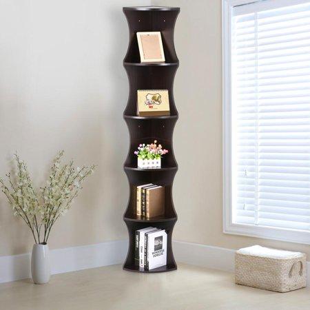 5 Tier Brown Round Wall Corner Shelf Stand