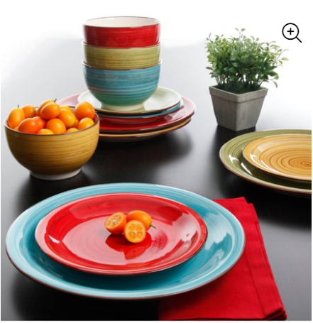 Festival Dinnerware, Assorted Colors, Set of 12