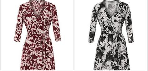 Floral Print Dress V-Neck 3 4 Sleeve Midi Wrap Dress with Belt.png