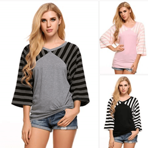 Women 3 4 Sleeve Round Neck Casual Striped Tunic Top.png