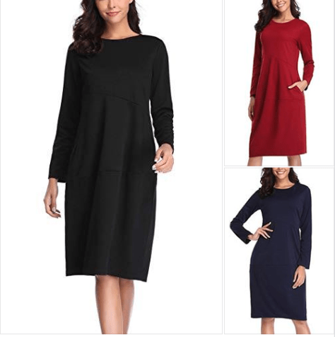 58dd1a19c050 Women's Long Sleeve Casual Loose Midi T-Shirt Day Dress with Pockets.png