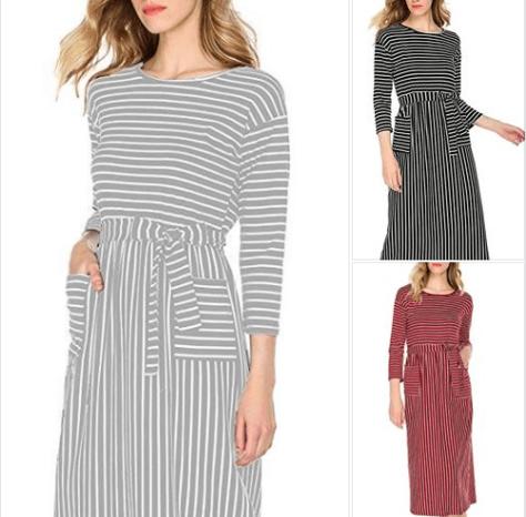 Women's Striped Long Sleeve Pockets Maxi Dress Empire Waist Casual Flowy Long Dress.png