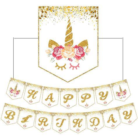 Deals Finders Amazon 15 Pcs Glitter Unicorn Happy Birthday