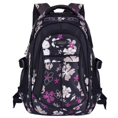 Flowers Pattern Primary School Bookbag Girls Backpack Book Bags Black for $8.99 w/code