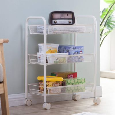 Utility Cart Wire Rolling Storage Cart with 3 Baskets Laundry Cart for $17.99 w/code