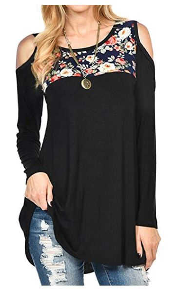 Women's Casual Long Sleeve Blouse Shirt Cold Shoulder Tunic Tops for $4.99
