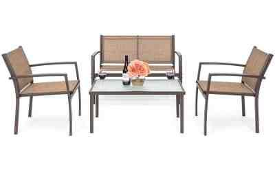 Walmart : 4-Piece Patio Metal Conversation Furniture Set w/ Loveseat Just $134.99 (Reg : $244.99)