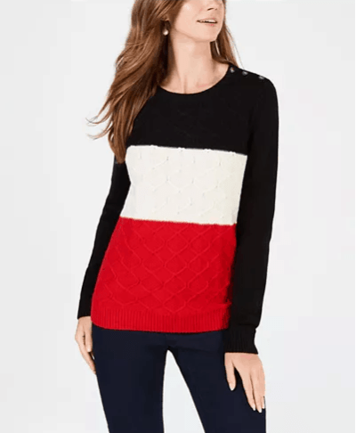 Macy's : Colorblocked Cable-Knit Sweater Just $9.96 (Reg : $59.50)