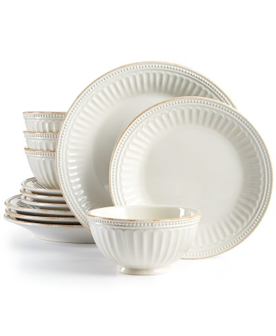 Macy's: French Perle Groove White 12-Piece Dinnerware Set, Created for $95.99 (reg: $276)