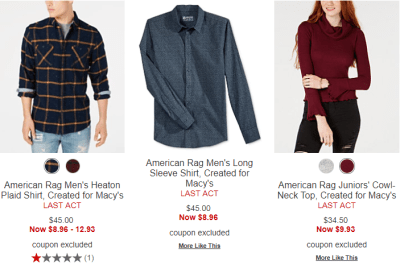 Macy's : American Rag Clothes On 80% Off Clearance + Store Pickup.