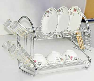 Amazon : 2-Tier Stainless Steel Dish Rack with Draining Tray Just $15.99 W/Code (Reg : $39.98) (As of 4/20/2019 11.31 AM CDT)