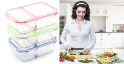Amazon : [3-Pack, 36oz] Glass Meal Prep Containers 2 Compartment Just $12.99 W/Code (Reg : $25.99) (As of 4/23/2019 7.08 PM CDT)