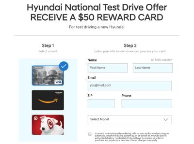 Hyundai Test Drive Bonus, Get A $50 Gift Card