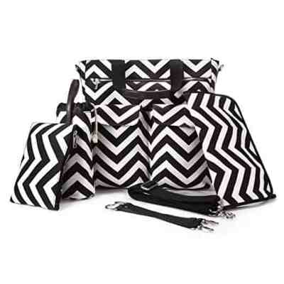 Amazon : 5-in-1 Baby Diaper Bag Stripe Cotton Canvas with Changing Pad Just $16.10 W/Code 65% OFF Apply at Checkout (Reg : $45.99) (As of 4/13/2019 10.36 AM CDT)
