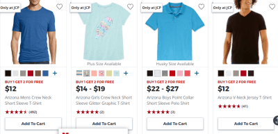 JCPenney : Buy 1 Get 2 FREE Arizona Tees