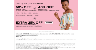 JC Penney : JCPenney Coupon: Extra 60% Off $100+ Order!!