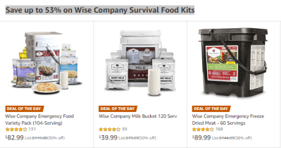 Amazon : Save huge on Wise Company Survival Food Kits Just Starting as low as $39.99 (As of 4/22/2019 10.35 AM CDT)