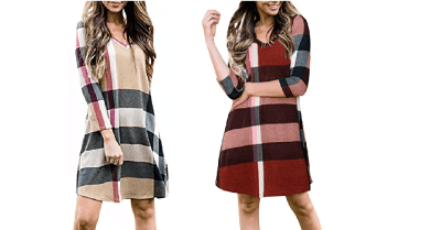 Amazon : Women's Plaid Striped Dress Long Sleeve V-Neck Tunic Tops Blouse with Pockets Just $11.44 W/Code (Reg : 22.88) (As of 4/23/2019 8.40 PM CDT)