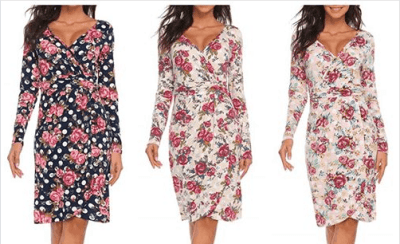 Amazon : Women's Faux Wrap Long Sleeve Floral Print V-Neck High Waist Party Dress Just $6.90 W/Code (Reg : 22.99) (As of 4/23/2019 8.19 PM CDT)