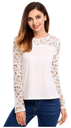 d0eb63d2aa Amazon : Women's Lace Shoulder Long Sleeve Blouse T Shirt Casual Lace Tops  Just $9.99 W/Code (Reg : $33.30) (As of 4/26/2019 2.43 PM CDT)