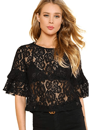 Amazon : Women's Round Neck Tiered Layer Half Sleeve Sheer Lace Blouse Just $5.92 W/Code (Reg : $15.99) (As of 4/08/2019 9.20 PM CDT)