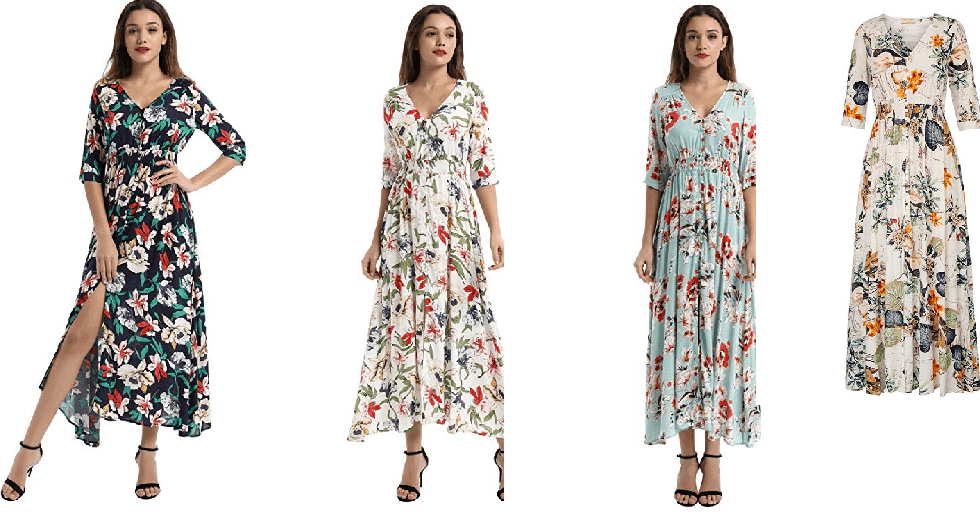 Amazon : Women's Summer Floral Button up Split Flowy Party Maxi Dress Just $9.99 W/Code (Reg : $19.99) (As of 5/22/2019 9.04 AM CDT)