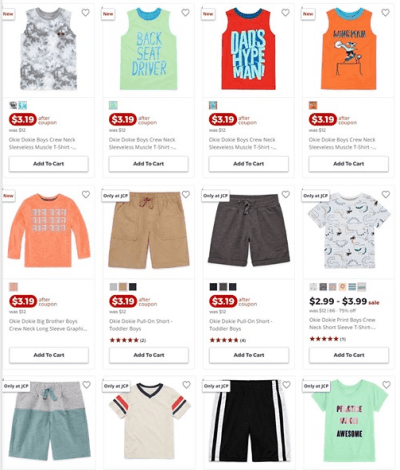 Jcpenney : Kids Okie Dokie Clothes W/Code AS LOW AS $2.56 EACH (Reg : $12)