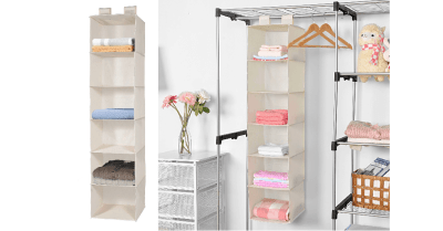Amazon : 6 Tiers Cloth Hanging Shelf for Closet Organizer with 2 Widen Straps Just $4.99 W/Code (Reg : $12.99) (As of 5/24/2019 10.53 AM CDT)