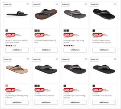 Jcpenney : Men's Sandals, Slides & Flip Flops Just AS LOW AS $7.99 EACH W/Code (Reg $28.00 EACH)