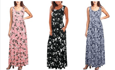 Amazon : Women Summer Sleeveless Floral Printed Long Maxi Causal Dress with Pockets Just $9.49-13.49 W/Code (Reg : $26.99) (As of 5/24/2019 1.09 AM CDT)