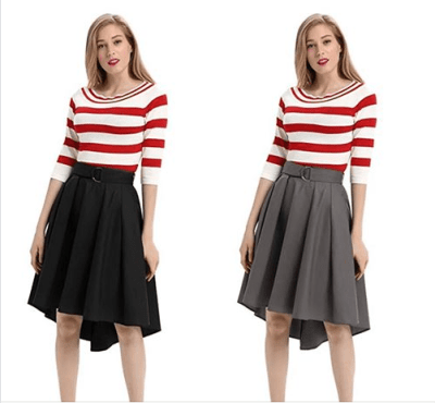 Amazon : Women's High Waist Belted High-Low Hem Flared Solid A-Line Skirt with Pockets Just $6.80-9.60 W/Code (Reg : $16.99) (As of 5/24/2019 10.34 AM CDT)