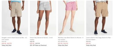 Old Navy: 50% Off Shorts for Entire Family (Today Only)