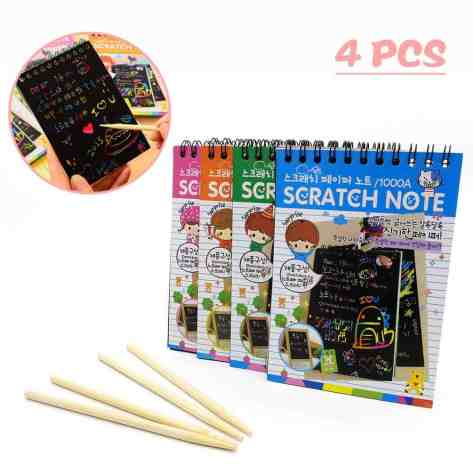 Deals Finders   Amazon : 4 Pack Scratch Art Note Pads Just