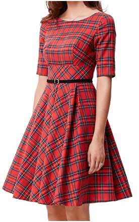Amazon : Vintage Tartan Hepburn Plaid Swing Dress with Belt Just $4 W/Code (Reg : $59.85) (As of 6/17/2019 12.49 PM CDT)