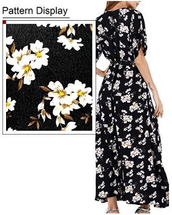 Amazon : Women Wrap Maxi Dress Just $8.05-$9.44 W/Code (Reg : $20.99) (As of 6/17/2019 12.39 PM CDT)