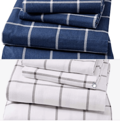 100% Turkish Cotton Flannel Sheet Set. Warm, Cozy, Lightweight, Luxury Winter Bed Sheets. (Queen, White/Grey) for $33.99 (reg: $47.99)