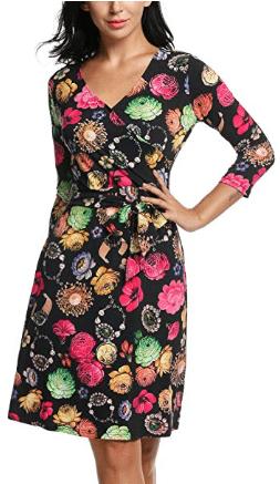 Amazon : Women's Classic Cap Sleeve V-Neck Draped Tie-Belt Cocktail Faux Wrap Dress Just $13.49 W/Code (Reg : $26.99) (As of 7/20/2019 3.56 PM CDT)