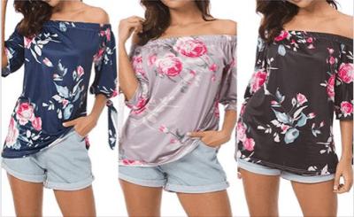Amazon : Women's Off Shoulder 3/4 Sleeve Floral Print Elegant Tops Just $5.96 W/Code (Reg : $15.99) (As of 7/23/2019 10.56 PM CDT)