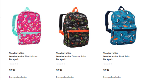 Backpack for $2.97 & Free Store Pickup